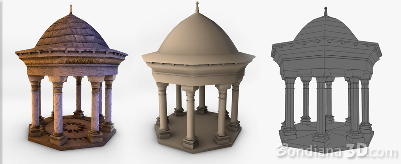 3d model of gazebo by bondiana3d.com