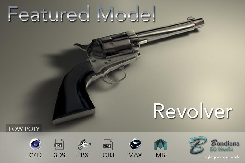 revolver 3d model by bondiana3d.com