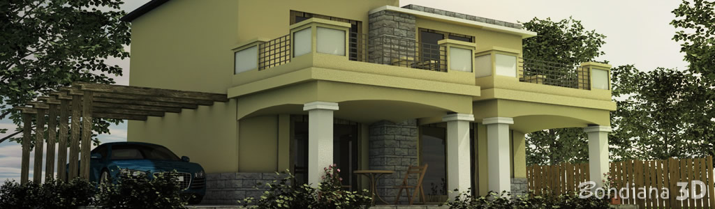 3d model of a modern house in 3d